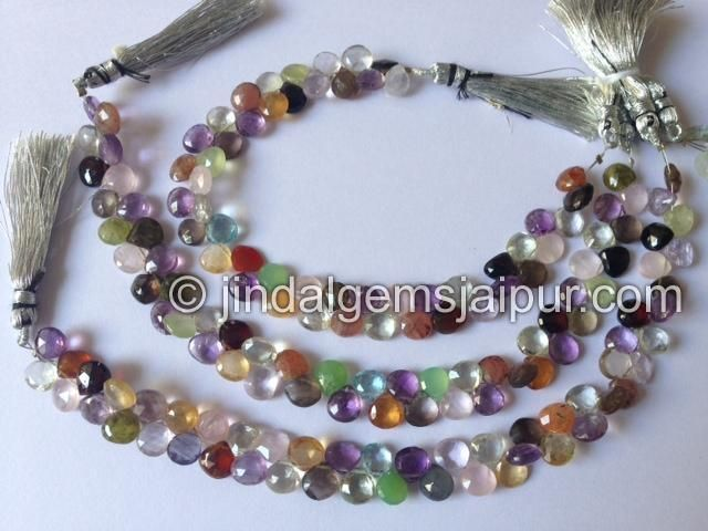 Multi Stone Faceted Heart Gemstone Beads.