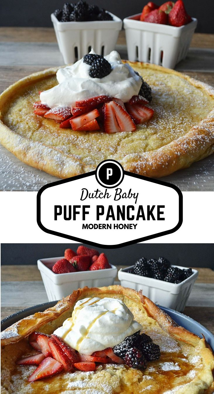 Dutch Baby Puff Pancake, always known as the German Pancake is a combination of rich custard and a fluffy pancake. The batter is made in the blender and then cooked in the oven where it rises and puffs up to make a golden brown edge. Sprinkle on powdered sugar, a dollop of fresh whipped cream, and berries and you have the perfect EASY breakfast.