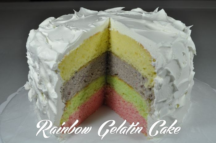 Mexican Jello Cake Recipe: Rainbow Gelatin Cake