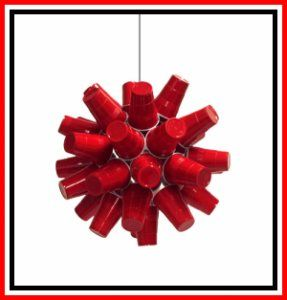 Red Cup Chandelier.. I would like it better with blue.. but this would be cool for a backyard party idea..obviously with a light bulb in the middle to make it glow :)