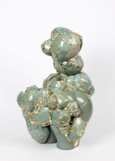 Translated Vase Ceramic trash, aluminum bar, epoxy, 24K gold leaf 2002 / 2006 - 2011