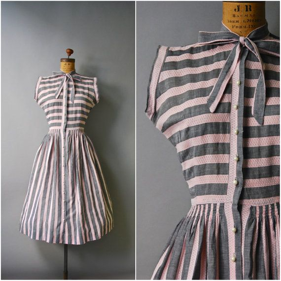 1940's Mode o Day Dress//Grey and Pink Stripe by CapsuleVintage