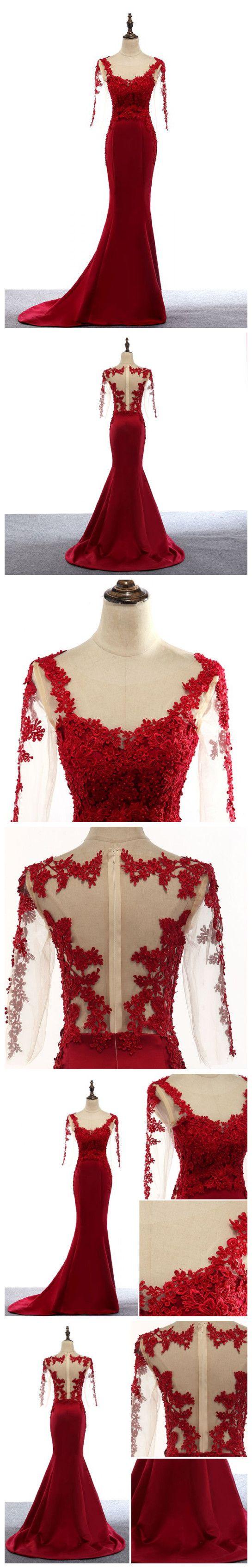 CHIC TRUMPET/MERMAID SCOOP RED SATIN APPLIQUE MODEST LONG PROM DRESS EVENING DRESS AM505