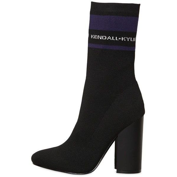 Kendall+kylie Women 100mm Hailey Logo Knit Sock Ankle Boots ($265) ❤ liked on Polyvore featuring shoes, boots, ankle booties, black, black slip on boots, black pull on boots, knit boots, black ankle booties and high heel ankle booties