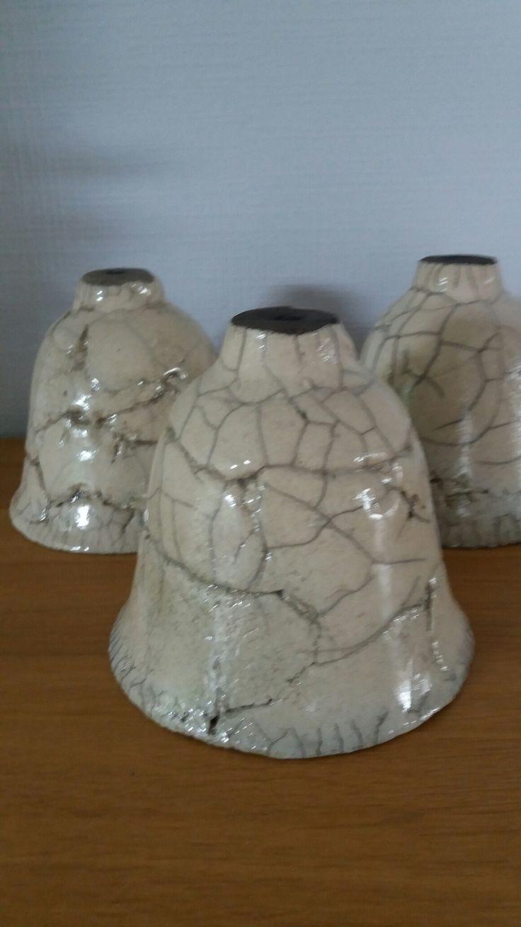 Lampekapjes uit rakuklei en raku gestookt