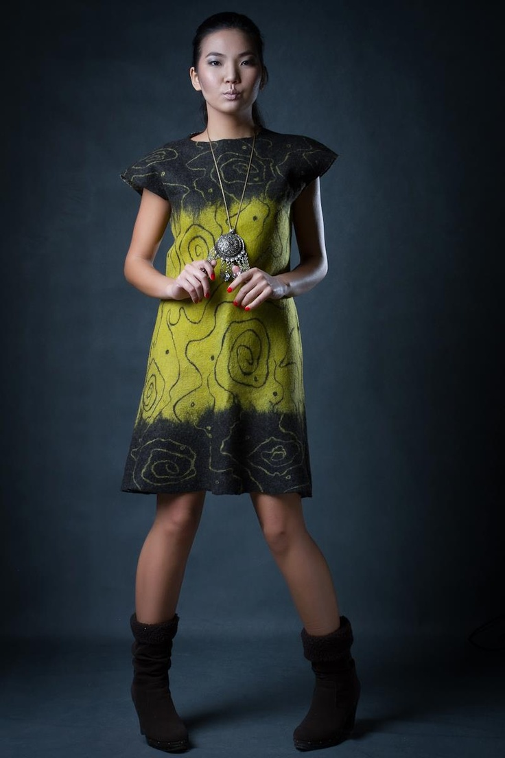minimalist chic tshirt dress love this style not all felt dresses have to be wild in colour and shape #nuno felting dress