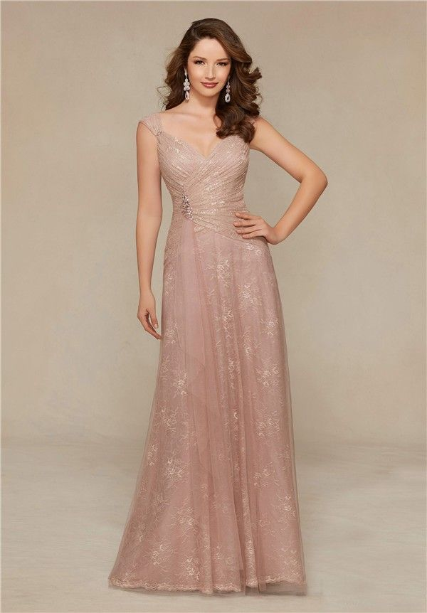 Sheath V Neck Cap Sleeve Long Blush Pink Lace Mother Of The Bride Evening Dress