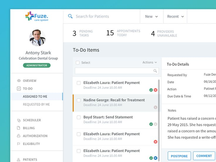 Dashboard UI for Health Care Enterprise App