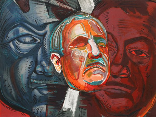 Artist: Ernst Neizvestny, Russian (1926 - ) Title: Triple Self-Portrait Year: Circa 1979 Medium: Lithograph, signed in pencil Edition: P/P Paper Size: 30 in. x 40 in. (76.2 cm x 101.6 cm)