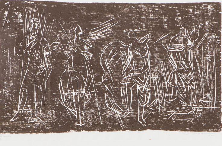 Ina Colliander: Ihmisiä, 1966, puupiirros, 30x48 cm, edition epreuve d'a 2/3 - Hagelstam 5/2016