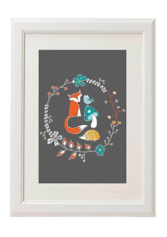 Foxy Print by CosgroveBallDesigns on Etsy