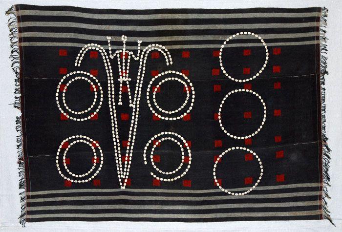 Man's wrapped garment, Chang, Kaylo Kengyu or Konyak Naga People, Nagaland, India. 1900-1925. Cotton, dog hair, and cowrie shells.
