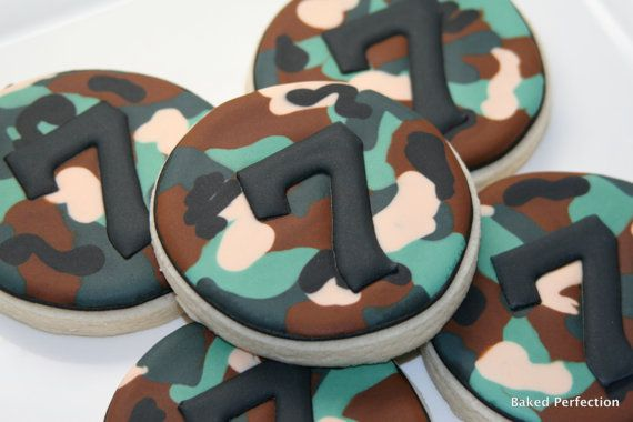 Green Camoflauge Hand Decorated Cookies for Army Party, Camo Party//Birthday Favors with Monogram or Age via Etsy