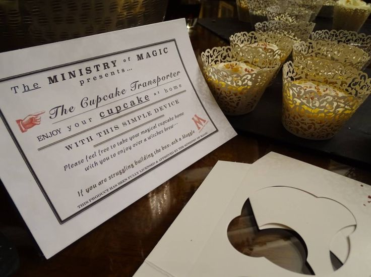 Harry Potter Butterbeer cupcakes. From Sorrel & Andy's Harry Potter Wedding. Sorrel owns and runs Ambience Venue Styling North  Lancashire.