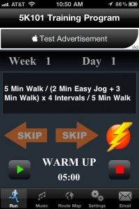 from Running Mate - Free podcast or phone app - also has a training and fastest program. I've made it to week 6 so far and I'm doing 12 minutes of jogging ...