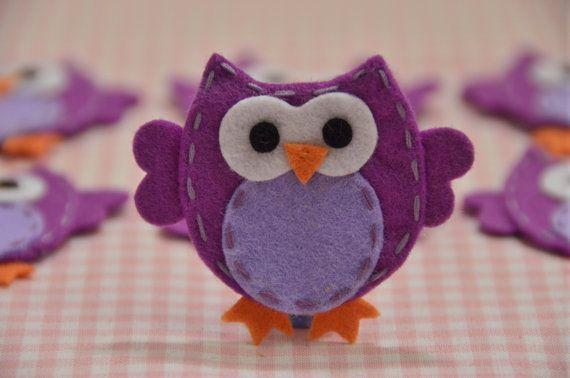 Set of 6pcs handmade felt owllight plum FT932 by AsecInc on Etsy, $6.00