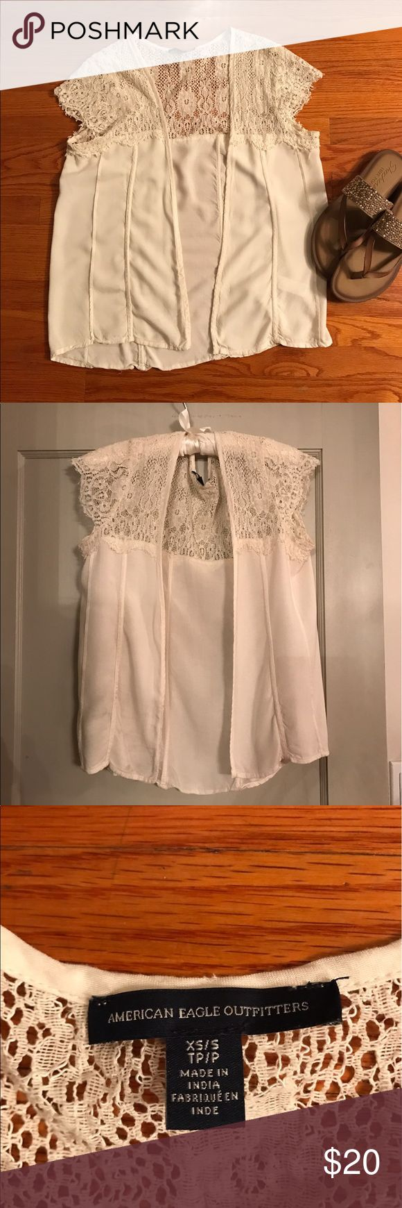 American Eagle Outfitters White Lace Kimono Really cute American Eagle Outfitters off white lace kimono.  Size small but really more like a medium. American Eagle Outfitters Tops