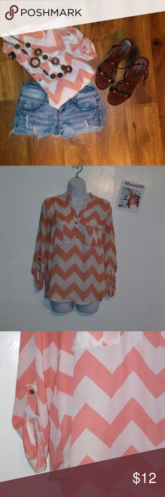 Flawless Rue 21 Chevron blouse Very nice rue blouse. This blouse is chiffon and sheer and can be worn a few different ways to wear different styles.   ❗ BUNDLE AND SAVE❗  $1 off each item purchased and  ✨15%off bundle✨  Check out all my other items as I add new items daily. I am on a few sites so my items sell fast, get it while you can. I except most reasonable offers!   ✔ Like a sold item to bookmark my closet. I delete and relist frequently. Rue 21 Tops Blouses