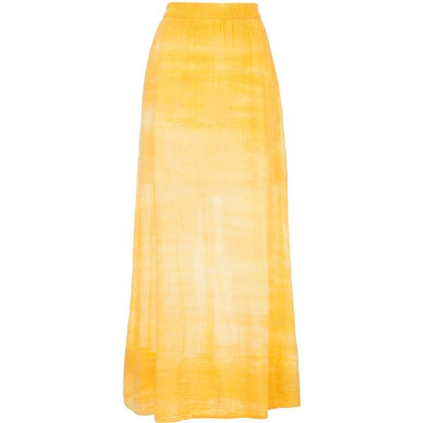 Raquel Allegra faded effect maxi skirt ($443) ❤ liked on Polyvore featuring skirts, yellow, beige maxi skirt, beige long skirt, floor length skirt, maxi skirt and yellow skirt