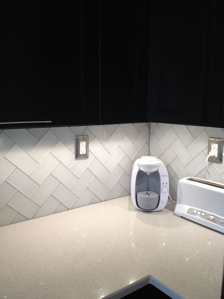 Herringbone Pattern Frosted White Glass Subway Tile And