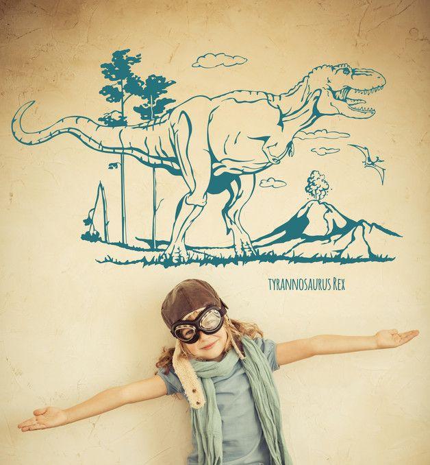 Ideal Wandtattoo Wandtattoo Dinosaurier Dino Tyrannosaurus Rex ein Designerst ck von IlkaParey bei DaWanda