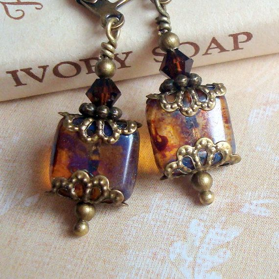 Brown Dangle Earrings , Neo Victorian Jewelry , Antiqued Brass Bronze , Beaded Earrings , Vintage Inspired , Weathered Tiles