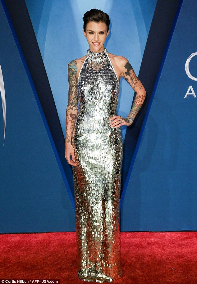 Ruby Rose shimmered in a silver gown for the Country Music Association Awards in Nashville on Wednesday