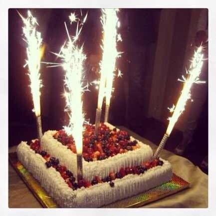 Свечи и фейерверки на торт