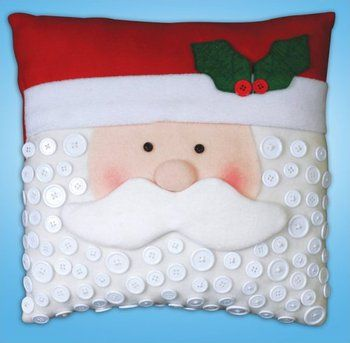 Santa Button Pillow - Felt Applique Kit