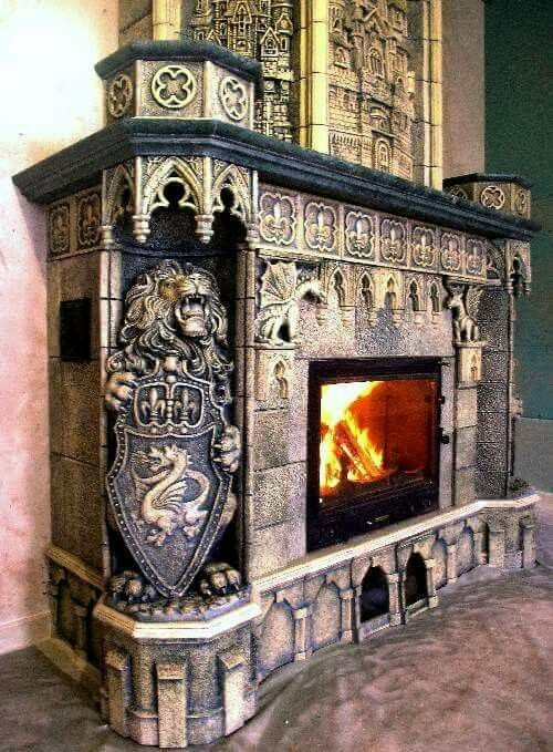 Lion fireplace mantle, medieval