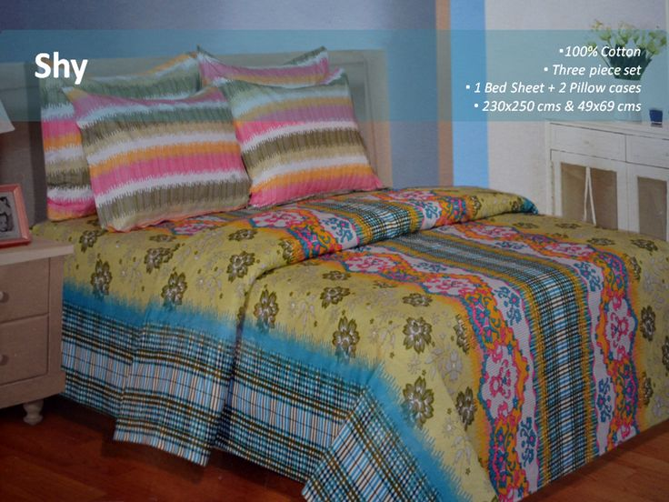 100% Cotton Bed Set  Elegant and classy, this multicoloured double bed sheet set is an ideal choice to jazz up the look of your bedroom. Featuring a unique design and pattern, it will give an instant update to your interiors
