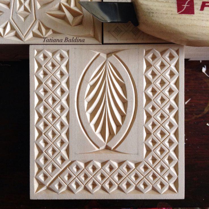 Chip carving (pattern by Tatiana Baldina)  instagram.com/tatbalcarvings