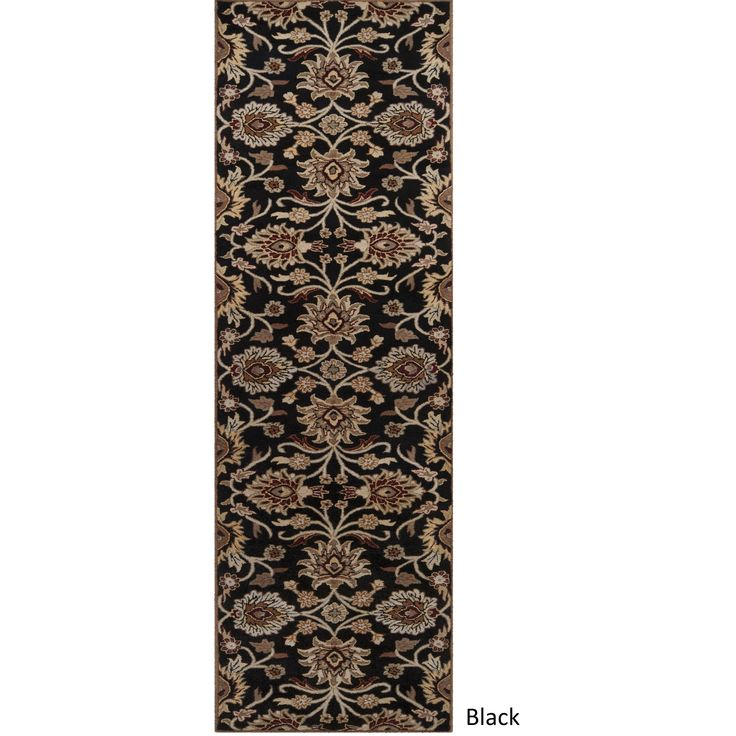 Hand-tufted Patchway Wool Runner Rug (3' x 12') (Black), Size 3' x 12'
