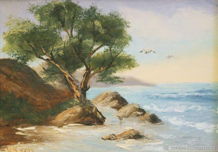 Картина маслом в раме. Свежий ветерок. Пейзаж с морем – купить в интернет-магазине на Ярмарке Мастеров с доставкой