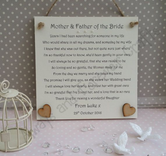 Mother and Father of the Bride gift from Groom, Thank You Plaque from Groom, Gift from Groom to Brides Parents, Personalised Groom Gift