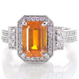 Vibrant hues from the 2.00 carat emerald cut orange sapphire make this ring stand alone. Set in a 14k white gold art deco band with classic prongs, the sapphire takes center stage.  #engagement #wedding #ring www.knoxjewelers.biz