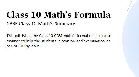 Download Maths Formula pdf Class 10