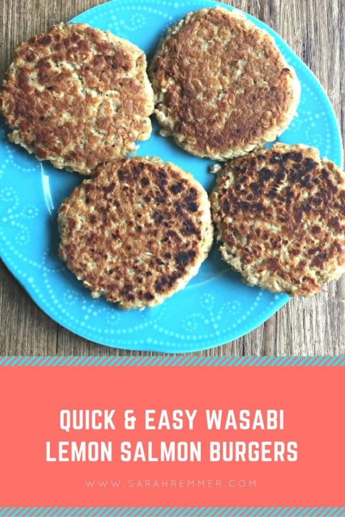 Quick and Easy Wasabi Lemon Salmon Burgers!