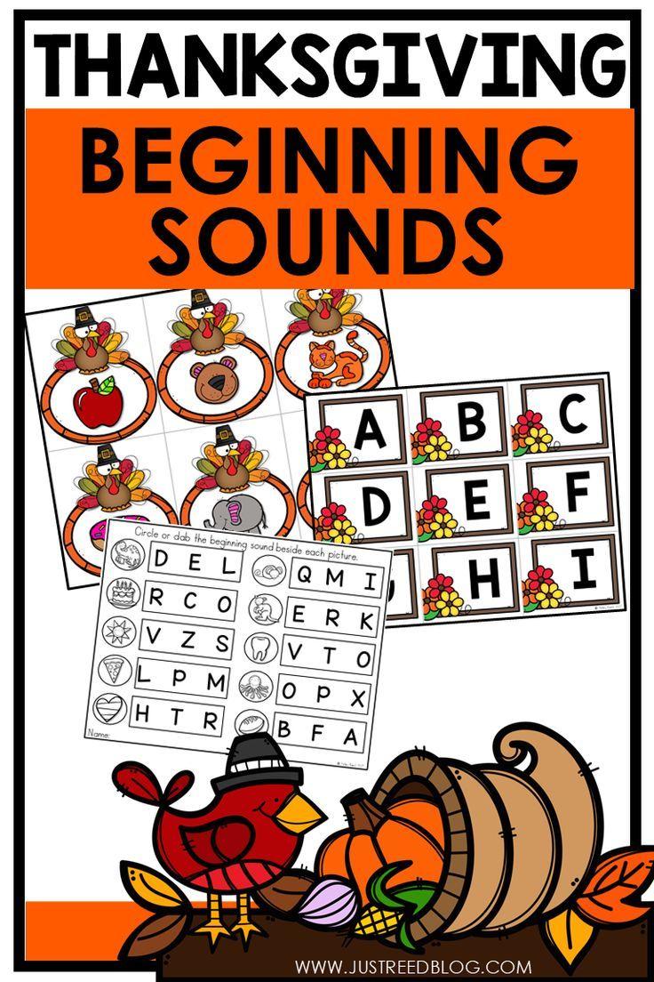 This Fun Beginning Sounds Activity Has A Thanksgiving And November Alphabet Activities Preschool Alphabet Activities Kindergarten Phonemic Awareness Activities [ 1104 x 736 Pixel ]