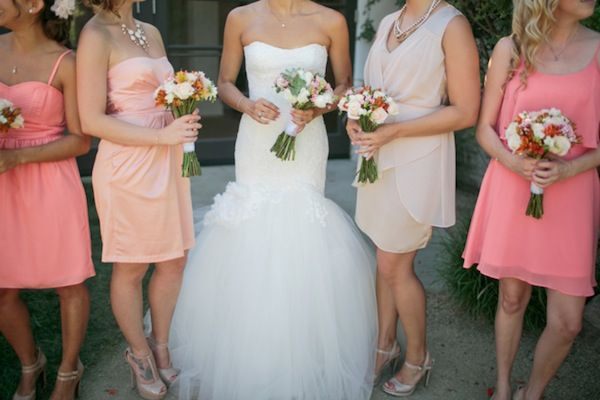 obsessed with this summery coral, peach and pink wedding and the bride's dress! photos by Troy Grover Photographers