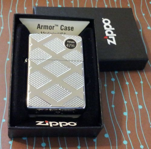 Zippo 28637 Armor Diamond Pattern Deep Carve Chrome NEW Windproof Lighter