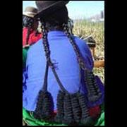 Cordel trenzado de lana de alpaca negra para sujetar las trenzas de cabello