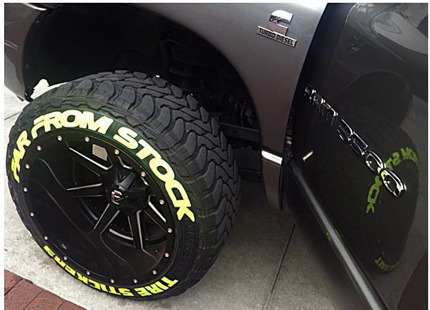 Tire stickers available for permanent or temporary use
