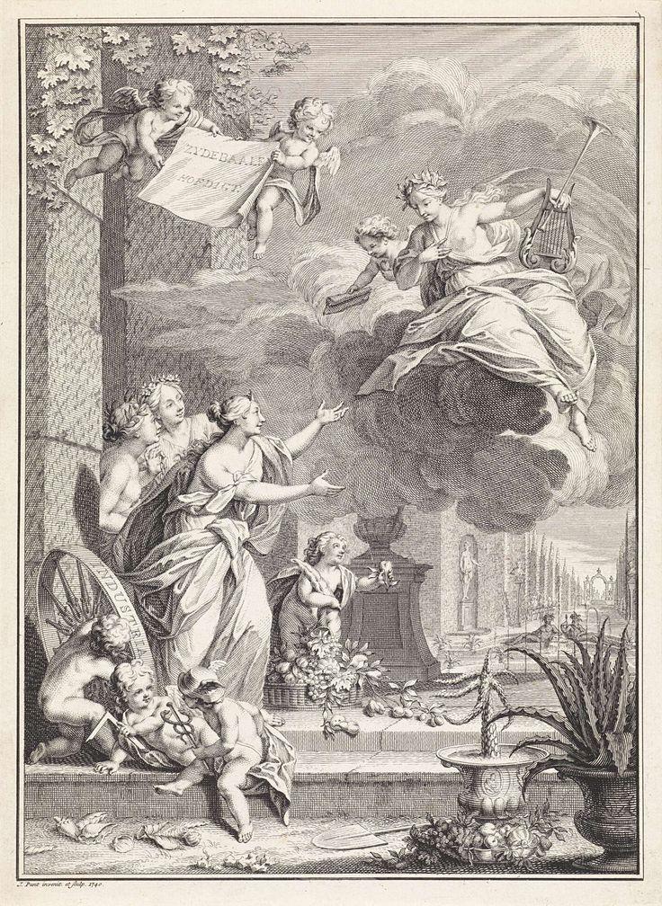 Jan Punt   Poëzie in gesprek met allegorische figuren, Jan Punt, 1740   Poëzie die vanaf een wolk neerdaalt in een tuin, in gesprek met de allegorische vrouwfiguren Gastvrijheid, Vriendschap en Beleefdheid. Op de voorgrond drie putti die de Koopzorg (met caduceus), Werktuigkunde (met winkelhaak) en Landvreugd (met rad) symboliseren. In de lucht vliegen twee putti met een doek waarop de titel in het Nederlands.