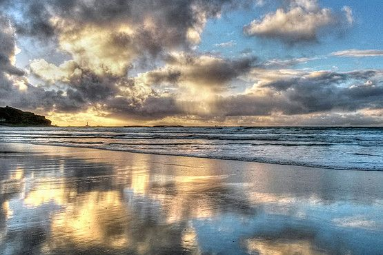 WMN View: Sennen beach in Cornwall, with the wet sand mirroring the sky | @Western Morning News