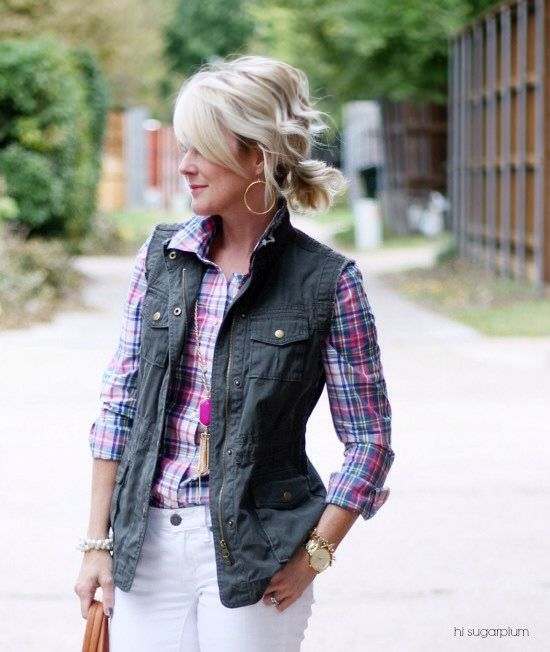 Plaid with military vest- good for spring or fall