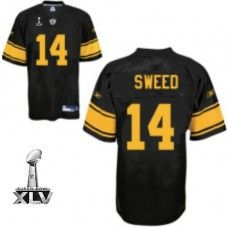 Steelers #14 Limas Sweed Black With Yellow Number Super Bowl XLV Stitched NFL Jersey
