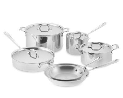 All-Clad Tri-Ply Stainless-Steel 10-Piece Cookware Set #WilliamsSonoma.  When I win the lottery these will be mine.