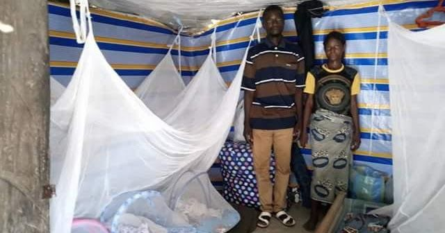 """The Anongos and their triplets are finally back home at Gwande village Benue State three weeks after they welcomed their children. The couple who are parents to four other children were detained at the General Hospital Makurdi over their inability to pay N77600 bills. Ukan Kurugh who took up their case said Mr Anongo a farmer and his wife have promised to quit childbearing. Read his post below: """"Gwande Village is about 2 kilometers after Agan Toll Gate Makurdi on the Makurdi-Lafia Road close to"""