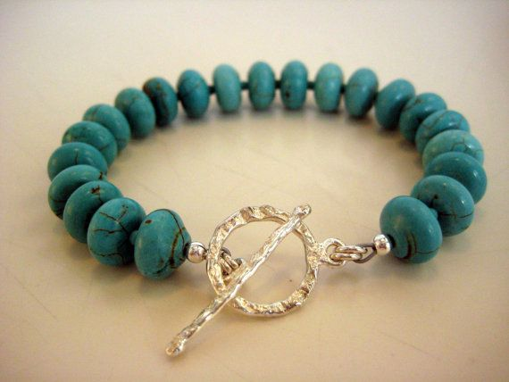 Turquoise and Sterling Silver Bracelet by BeadBashStudio on Etsy